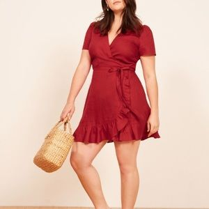 Reformation Red Ruffle Wrap Dress Mini